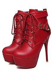 Da donna-Stivaletti-Tempo libero Formale Casual-Club Shoes Light Up Shoes-A stiletto-Finta pelle PU (Poliuretano)-Nero Rosso Bianco