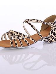 Maßfertigung Damen Latin Seide Absätze Aufführung Maßgefertigter Absatz Leopard