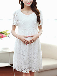 Women's Lace Maternity Sweet Round Collar Lace Slim Short Sleeve Dress