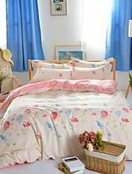 Bedtoppings Comforter Duvet Quilt Cover 4pcs Set Queen Size Flat Sheet Pillowcase Colorful Pattern Prints Microfiber