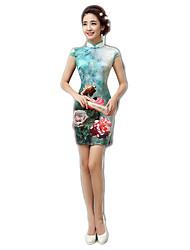 cheap -One-Piece Short Sleeve Medium Length Cyan Lolita Dress Polyester
