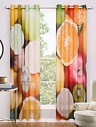 Grommet Top Two Panels Curtain Modern , Print Novelty Living Room Polyester Material Sheer Curtains Shades Home Decoration