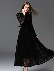 cheap -FRMZ Women's Lace Work Vintage DressSolid Stand Maxi Long Sleeve Black Cotton / Polyester / Nylon