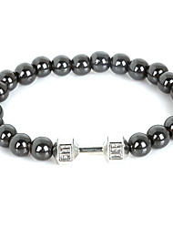 Beadia 1Pc Live Lift Dumbbell Bracelet 8mm Non-Magnetic Hematite Beads Strand Bracelet Christmas Gifts