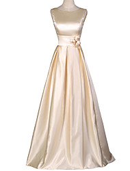 A-Line Scoop Neck Floor Length Satin Formal Evening Dress with Flower(s) by Shang Shang Xi
