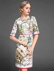 preiswerte -stephanie Frauen Vintage Mantel Rundhals Gehen über Knielänge Hülse dressjacquard