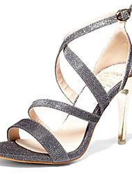 Dame Sko PU Sommer Komfort Sandaler Stilethæle for Afslappet Sort Sølv Gylden