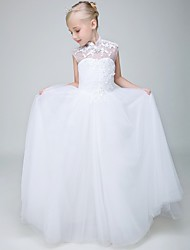 Ball Gown Ankle Length Flower Girl Dress - Tulle Sleeveless High Neck with Beading by Lovelybees
