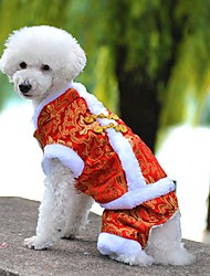 cheap -Dog Coat Jumpsuit Dog Clothes Holiday Fashion New Year's Embroidered Yellow Red Blue Costume For Pets