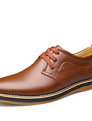 cheap -Men's Shoes Cowhide Spring Fall Comfort Oxfords Walking Shoes Lace-up for Casual Office & Career Black Brown