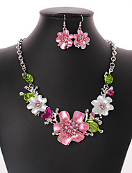 cheap -Women's Cubic Zirconia Jewelry Set - Zircon, Silver Plated Flower Bohemian, European, Fashion Include Drop Earrings / Statement Necklace Rainbow For Wedding / Party / Daily