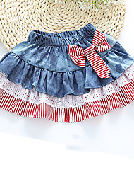 cheap -Girl's Daily Striped SkirtCotton Summer / Fall Blue / Red