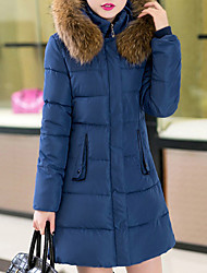 Women's Long Down Coat,Casual Daily Plus Size Solid-Polyester Polypropylene Long Sleeves Hooded