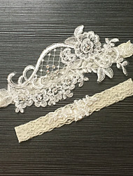cheap -Lace Stretch Satin Classic Fashion Wedding Garter with Imitation Pearl Flower Garters