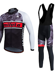 cheap -Miloto Men's Long Sleeves Cycling Jersey with Bib Tights - White Bike Clothing Suits, 3D Pad, Thermal / Warm, Quick Dry, Fleece Lining,