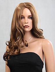Mulher Perucas sintéticas Sem Touca Ondulado Marron preto peruca Perucas para Fantasia