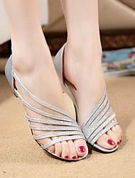 Women's Shoes PU Summer Comfort Sandals Walking Shoes Flat Heel For Outdoor Silver Purple Golden
