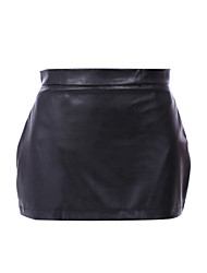 cheap -Women's Daily Mini Skirts, Sexy A Line PU Solid Spring