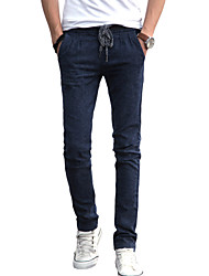 Men's Solid Casual / Work JeansCotton / Linen / Polyester Black ACD-913