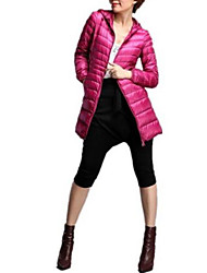 cheap -Women's Super Warm White Duck Down Jacket Mid Long Hooded Tops Fashion Korean Style Parka Winter Outerwear