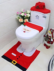 cheap -New Year Best Gift Happy Christmas Santa Toilet Seat Cover & Rug Bathroom Set Christmas Decorations