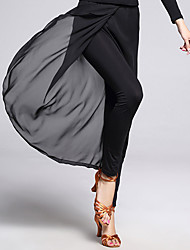 abordables -Baile Latino Pantalones y Faldas Mujer Entrenamiento Gasa Fibra de Leche Frente dividida 1 Pieza Sin mangas Cintura Media Pantalones