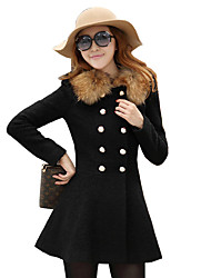 Women's Casual/Daily Vintage CoatSolid Asymmetrical Long Sleeve Winter Red / Black Polyester Medium
