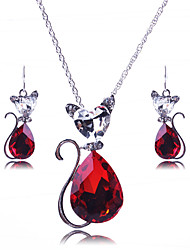 cheap -Women's Cute Jewelry Set Earrings / Necklace - Vintage / Party / Work Black / Red / Blue Jewelry Set / Necklace / Earrings For Wedding /