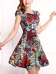 Brand Fashion Women's Vintage / Simple Print Plus Size / Sheath Dress,Round Neck Above Knee Cotton / Polyester