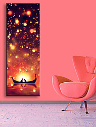 E-HOME® Stretched LED Canvas Print Art Two People On The Boat LED Flashing Optical Fiber Print One Pcs
