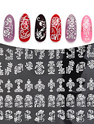 3D Silver Flowers Nail Stickers Decals Metallic Mixed Designs DIY Nail Art Decoration Tool