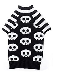 cheap -Dog Sweater Black Dog Clothes Winter Skulls Halloween