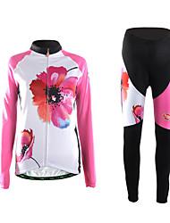 economico -TVSSS Maglia con pantaloni da ciclismo Per donna Manica lunga Bicicletta Set di vestiti Tenere al caldo Indossabile Traspirante Pad 3D