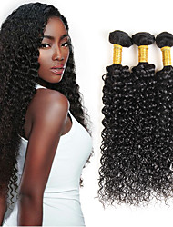 cheap -Brazilian Curly Virgin Hair Weave 3Bundles with 1 Lace Closure 4*4inch Natural Color 100% Real Human Hair Extensions