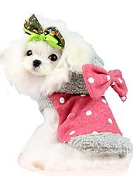Katzen Hunde Mäntel Kapuzenshirts Hundekleidung Winter Frühling/Herbst Schleife Niedlich warm halten Rot Blau