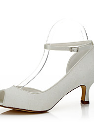 cheap -Women's  Fall Peep Toe Silk Wedding / Party & Evening / Dress Low Heel Lace-up White Others
