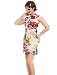 cheap -One-Piece Short Sleeve Medium Length Golden Lolita Dress Polyester