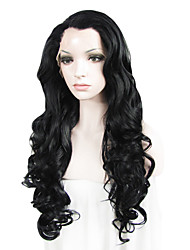 Donna Parrucche sintetiche Lace frontale Lungo Ondulati Bianco Nero Biondo Attaccatura dei capelli naturale parrucca del merletto
