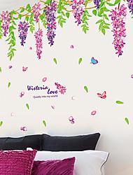 Bricolage romantique glycine sticker pvc mur autocollant pour fleur wall art décoration de la maison