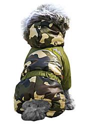 abordables -Chat Chien Manteaux Tenue Pulls à capuche Vêtements pour Chien camouflage Marron Rouge Vert Bleu Rose Coton Costume Pour les animaux