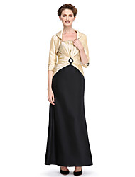 Sheath / Column Strapless Ankle Length Taffeta Mother of the Bride Dress with Beading Draping Criss Cross by LAN TING BRIDE®