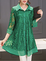 cheap -Women's Street chic Blouse - Solid Colored, Lace Shirt Collar