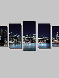 cheap -5 Panels Brooklyn Bridge Canvas art Print Modern Wall Art for Livingroom Decoration Unframed