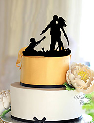 cheap -Cake Topper Classic Theme Classic Couple Acrylic Wedding with Flower 1 Gift Box