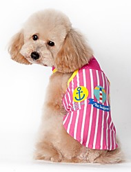 cheap -Cat Dog Vest Dog Clothes Casual/Daily Sports Sailor Blue Pink Costume For Pets