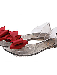 Women's Sandals Summer PVC Casual Flat Heel Translucent Heel Bowknot Black Red Champagne