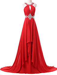 A-Line Jewel Neck Sweep / Brush Train Chiffon Formal Evening Dress with Beading Pleats by Shang Shang Xi