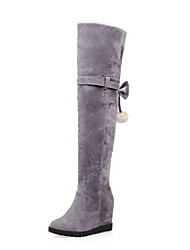 cheap -Women's Shoes Suede Fall / Winter Comfort / Fashion Boots Boots Low Heel Pom-pom Beige / Gray / Brown