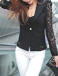 Women's Hot Sale Wild Lace Stitching Pierced Solid Color Long Sleeve Coat
