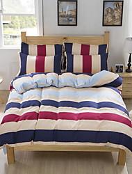 Bedtoppings Comforter Duvet Quilt Cover 4pcs Set Queen Size Flat Sheet Pillowcase Colorful Stripe Pattern Prints Microfiber